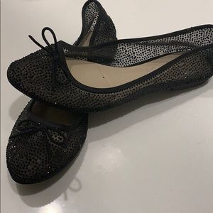 Black crystal Aldo flats